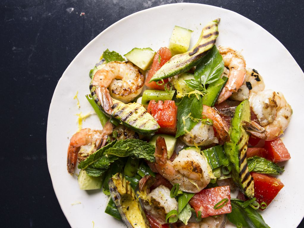 Watermelon avocado and shrimp salad