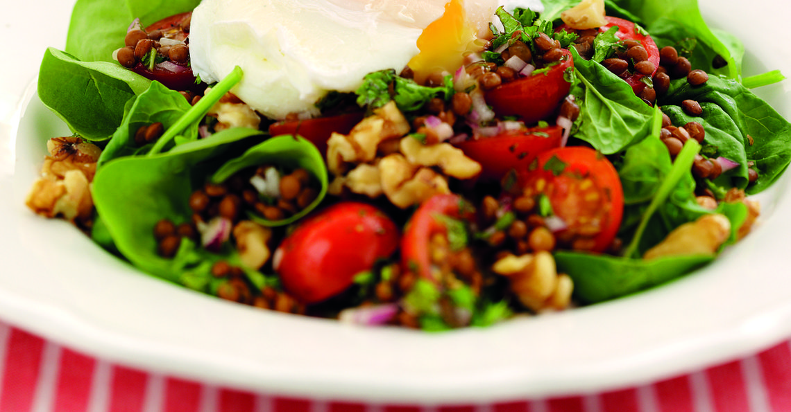 Warm Lentil Salad with Egg